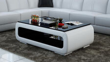Leather Coffee Table Modern Glass Design Living Room CT9010w