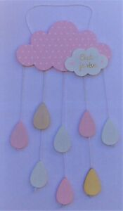 """Kids Wall Hanging Cloud with White/Pink/Gold Drops   """"Hush i'm Dreaming""""    New"""
