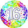 "Age 16 Birthday Colourful 18"" Foil Helium Balloon Party Milestone Sweet Sixteen"