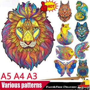 Wooden Jigsaw Puzzles Unique Animal Shape Jigsaw Pieces Home Decor Adult Kid Toy
