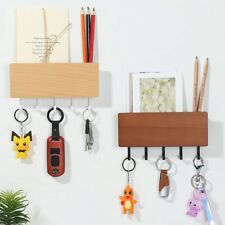 Wooden Storage Shelf Rack Wall Mount Hooks Key Holder Letter Box Mail Organizer