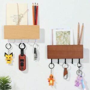 Wooden Storage Shelf Rack Wall Mount Hooks Key Holder Letter Box Mail Organizer