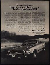 1976 MERCEDES-BENZ 450SL Convertible Luxury Car- 450 SL - VINTAGE AD