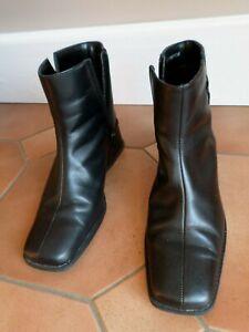 BHS Black Leather Upper Block Wedge Heel Zip Up Ankle Boots - UK Size 6 EU 39
