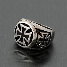 Men's Knight Templar German Iron Cross Pattee Patty Biker Stainless Steel Ring