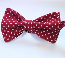 Bow Tie. UK Made. Deep Red / White Polka Dot. Cotton. Premium Quality. Pre-Tied.