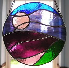 Lavender / Heather Fields Moon and Sky at Night Stained Glass Suncatcher