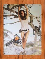 "TIN-UPS TIN SIGN ""Stihl Calender Girl Beach"" Vintage Pin Up Rustic Wall Decor"