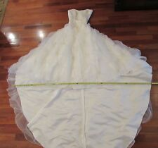 IVORY WEDDING DRESS TRAIN PEARL EMBROIDERY BODICE, APPLIQUES PEARL SKIRT SZ 10
