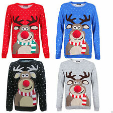 Unisex Womens Mens Rudolph Snowflake Knitted Pom Pom Jumper Reindeer Xmas Sweate