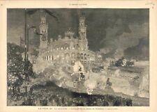 Fête du 14 Juillet Illumination du Palais du Trocadéro Paris Lepère GRAVURE 1883