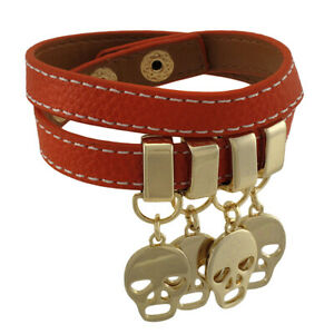 Zeckos Leather Double Wrap Bracelet with Golden Skull Charms