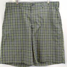 Men's Golf Shorts 36 Pro Tour Gray Yellow Check