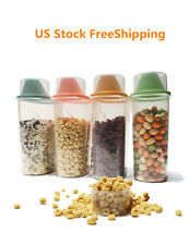 4 Pcs Plastic Rice Cereal Dispenser Food Storage Containers Set For Kitchen