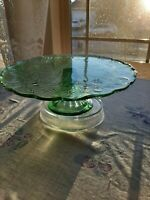 Vintage BEAUTIFUL Emerald Green Grape Design Cake Pedestal Stand Gorgeous! MINT!