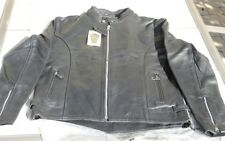 Xelement B7305 XL Mens Armored Soft Black Cowhide Leather Motorcycle Jacket