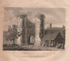 1776 ANTIQUE PRINT - CANTERBURY KENT, ST GEORGE'S GATE OR NEWINGATE