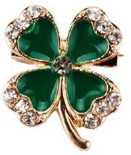 Cute Green Four Leaf Clover Shamrock Brooch 4 Irish Gold Lapel Pin Broach UK
