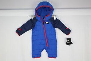 Nike Baby Boys' Fleece Lined Puffer Snowsuit Obsidian Blue Red 56F422