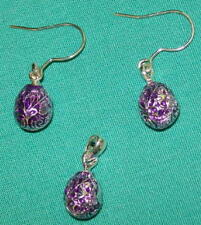 Royal Purple Faberge Russian Egg Charm & Earrings w/ Double-Headed Eagle #2709