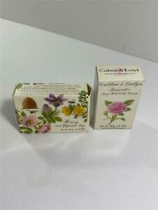 NIB Lot 2 Crabtree & Evelyn Rosewater Soap w/Cold Cream & Honey Glycerine 1.4 ea