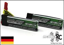 2x Turnigy nano-tech 600mah 1S 35~70C NEU Lipo Akku 3,7V Blade 120 SR MQX