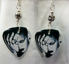 Dramatic Rihanna Guitar Pick Earrings with Pave Beads