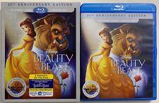 DISNEY BEAUTY AND THE BEAST BLU RAY DVD 2 DISC SET + SLIPCOVER SLEEVE 25TH ANNIV