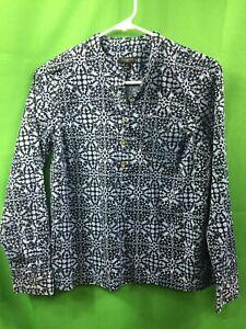 8874) TALBOTS  petite P blue pullover 1/2 button cotton blouse w/stretch