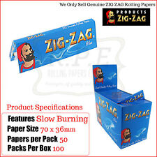 Zig Zag Blue Regular/Standard Size Cigarette Rolling Papers - One Full New Box