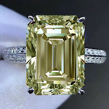 3.52Ct VS1>Emerald off Brown White Moissanite Diamond Engagement 925 Silver Ring