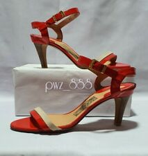 SALVATORE FERRAGAMO  Red Strappy Heels Shoes Size 7 C
