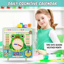 Kid Wood Clock Calendar Date Weather Season Board Learning Educational Toy