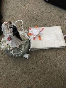 Wedding Light Bride Groom Cake Top Nightlight Glass & Guest Book