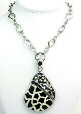 "Black Rhinestone Enamel Giraffe Print Pendant Necklace Silver Tone Chain 16"""