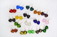 FREE wholesale 20pairs Fashion Heart Lampwork Glass bead Silver Tone earrings