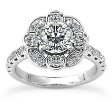 1 1/2 Ct Classic Round Cut Diamond Engagement Ring D/SI1 14K White Gold