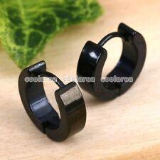pair Black Stainless Steel Hoop Huggies Fashion Earring