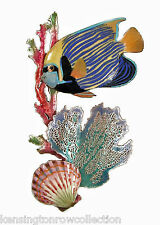 Wall Art - Emperor Angelfish With Coral Metal Wall Sculpture - Angel Fish