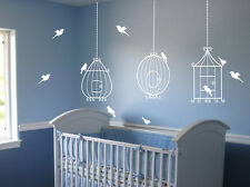 3 Bird Cages with 10 birds Wall Decal Deco Art Sticker Mural