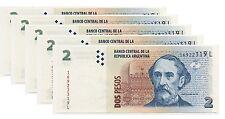 ARGENTINA 2 PESOS 2012 UNC 5 PCS CONSECUTIVE LOT P 352 L SERIAL BARTOLOME MITRE