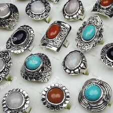 Wholesale Jewerly Lots 10pcs Mix Natural Stone Tibet Silver Vintage Rings Unisex