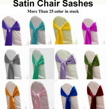 25 Satin Chair Sash Bow Sashes Bows Band Tie Wedding Banquet Party decoration