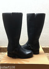 UGG DAHLEN BLACK LEATHER RIDING WATER RESISTANT BOOTS US 7 / EU 38 / UK 5.5 NEW