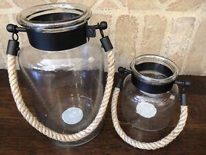 Pottery Barn Hyannis Lantern Bronze Lantern Size Small And Medium Set Of 2 New
