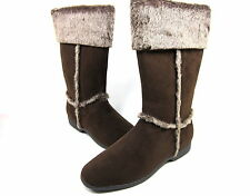 ANNIE SHOES, BOUNDRY FAUX FUR BOOT, WOMENS, BROWN VELVET SUEDE, US 11 M, EURO 41