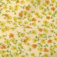 "36"" W Vintage Cotton Fabric, Yellow & Gold Flowers on Lemon Yellow, Per 1/2 Yd"