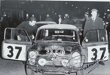 Paddy Hopkirk Hand Signed 12x8 Photo Mini Cooper Rally 23.