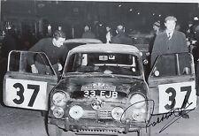Paddy Hopkirk Hand Signed 12x8 Photo Mini Cooper Rally 23.