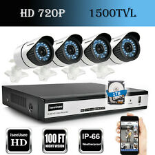 720P HD 4CH HDMI DVR 1TB 1500TVL IR-CUT Outdoor CCTV Home Security Camera System
